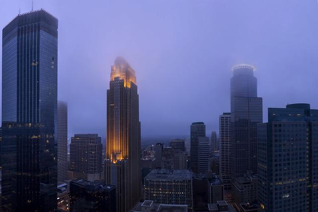 Foggy Minneapolis Panorama (Explored!), Canon EOS REBEL T3I, Canon EF 20mm f/2.8 USM