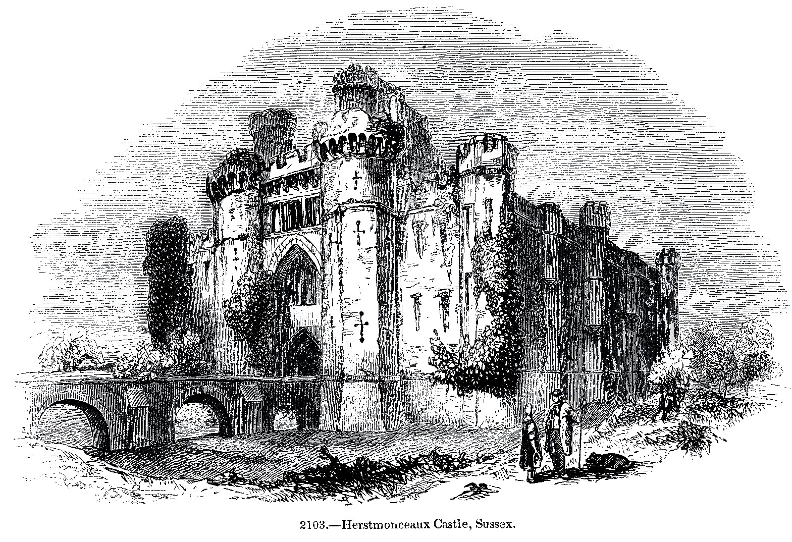 Engraving of Herstmonceux Castle, 1845