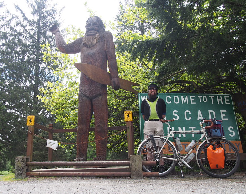 Bigfoot, Neil, and Ivory Pass: A wooden statue at the Espresso Chalet near Index, based on Harry and the Hendersons.