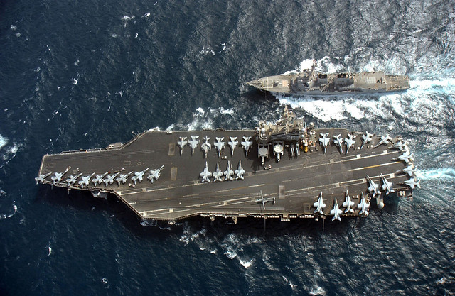 USS McCampbell (DDG-85) comes alongside USS Ronald Reagan (CVN-76) for a refueling