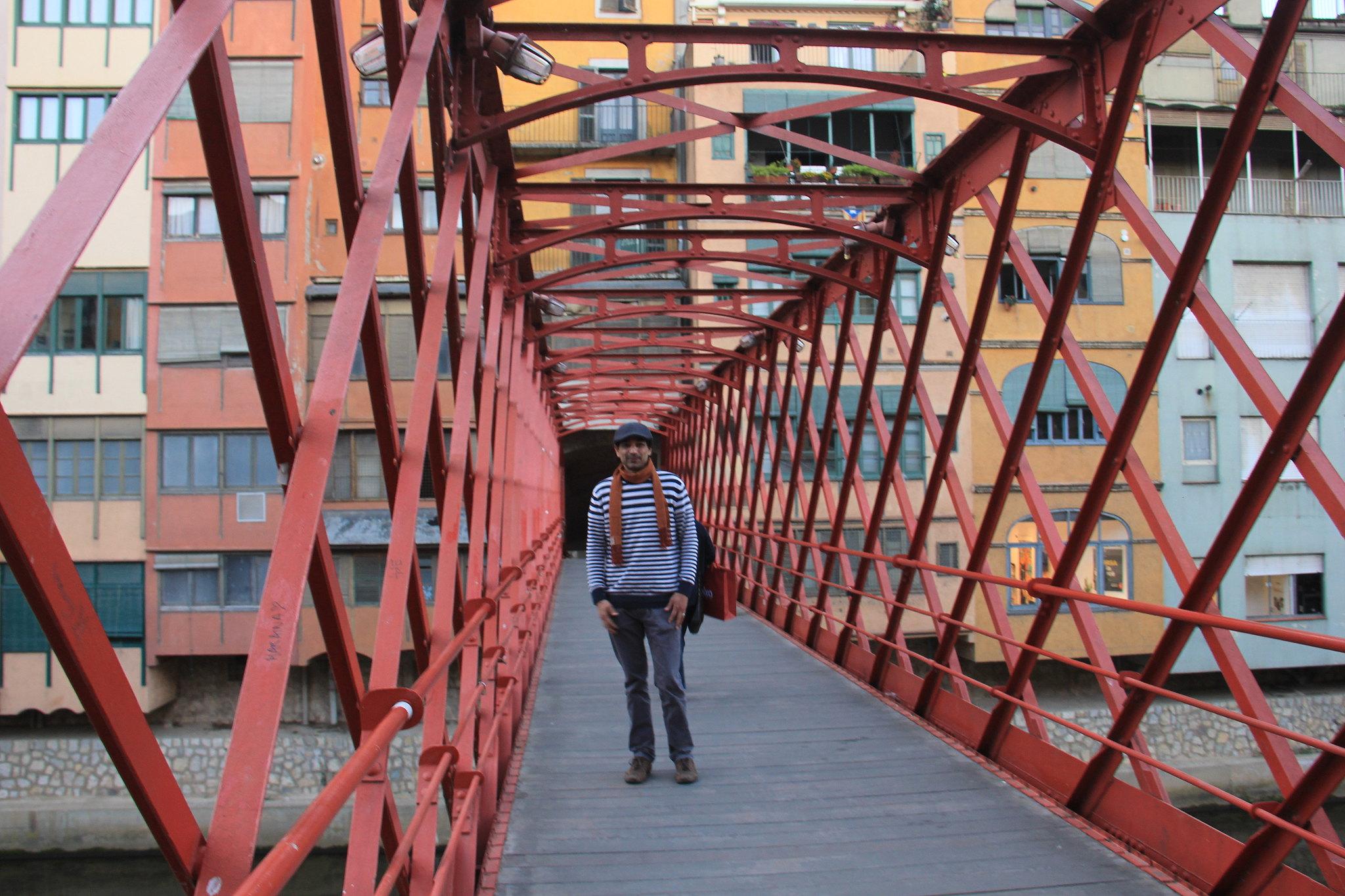 Eiffel Bridge on River Onyar in Girona