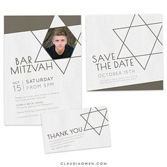 Celebrate this wonderful coming-of-age event with this modern and fun Bar Mitzvah invitation. The design features a Star of David and you can add your own photo #barmitzvah #invitation #stationerydesigner