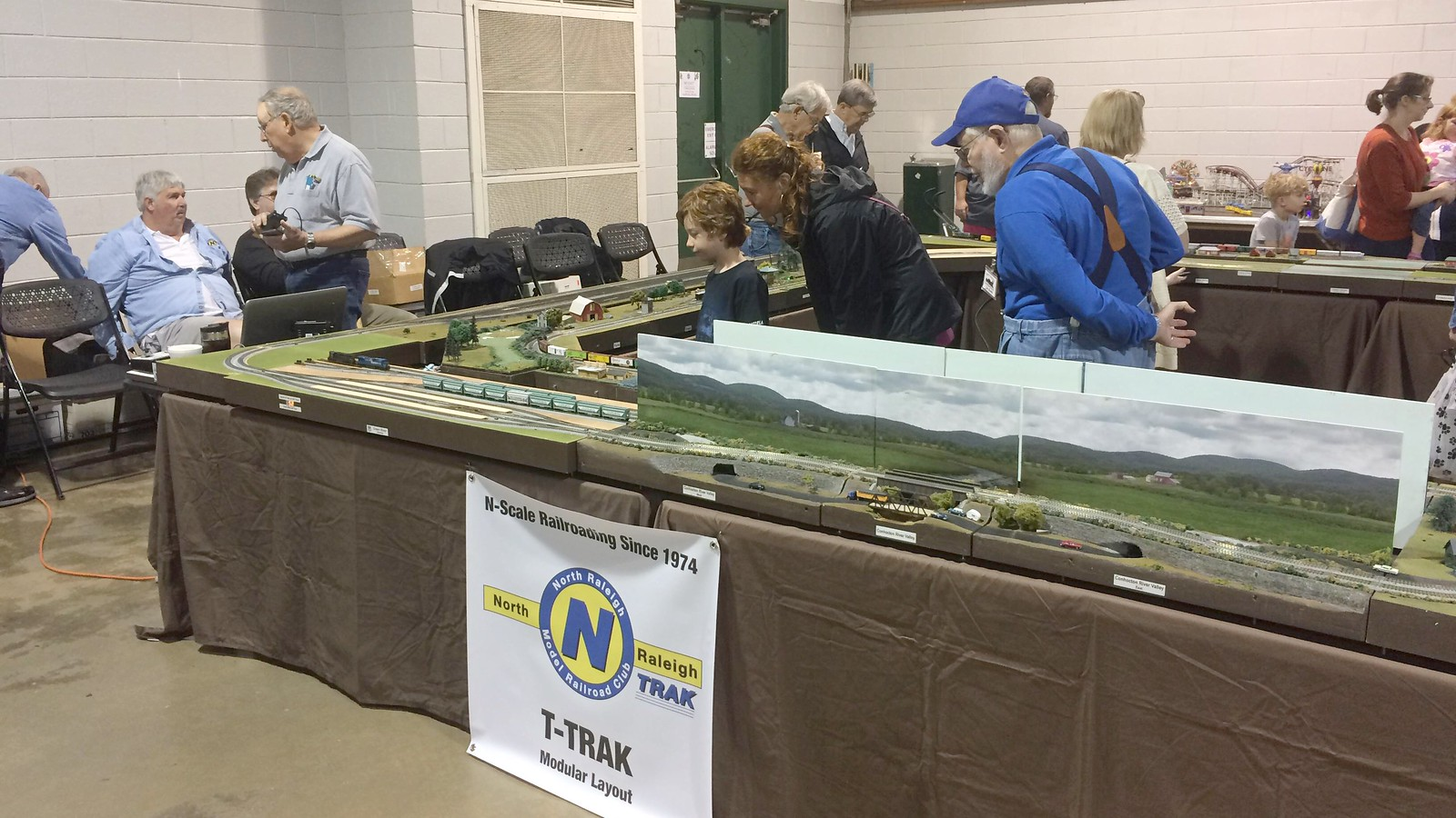 On May 6, 2017, the North Raleigh Model Railroad Club displayed a T-TRAK layout at the Spring TCA show at the North Carolina State Fairgrounds
