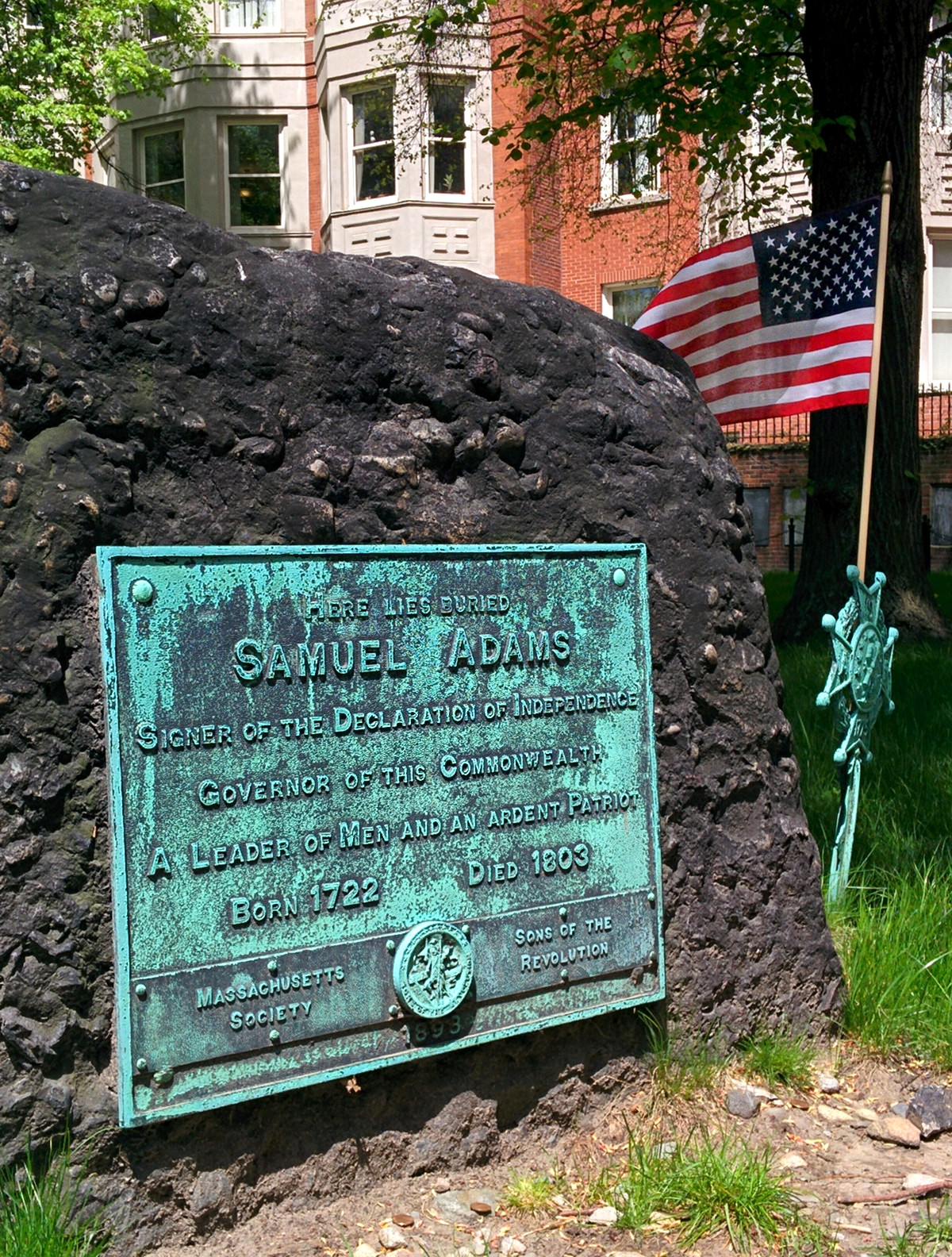 Samuel Adams's memorial at the Granary Burying Ground