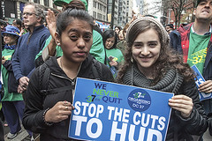 DC 37 joined housing activists and elected officials to protest HUD budget cuts. (2107)