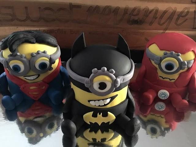 Super Minion, Bat Minion and Iron Minion Cake by Sweet Revenge