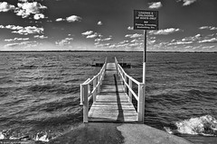 No Swimming Sign BW