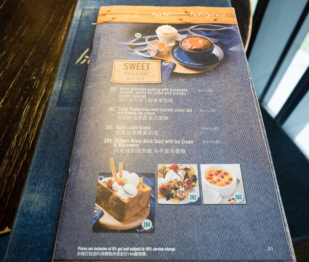 The sweet dessert menu of Take Eat Easy Modern Bakery & Cafe