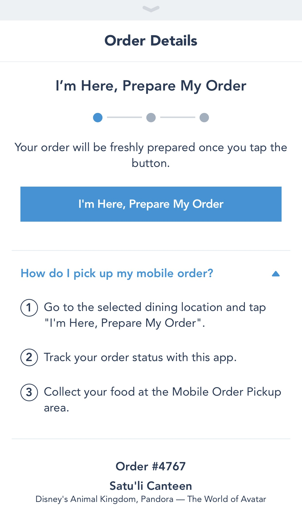 """Upon Reopening The App, You Can Find Your Preorder In A Separate Box In  €�my Plans"""", Awaiting You To Click The €�i'm Here, Prepare My Order"""" Button"""