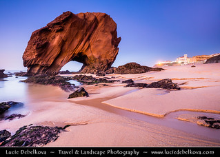 Portugal - Santa Cruz - Penedo do Guincho - Iconic rocky arch formation at Dusk