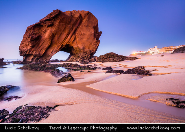 Portugal - Santa Cruz - Penedo do Guincho - Iconic rocky arch formation at Dusk
