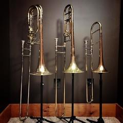 Nuclear Trombone Family. #trombone #trombones #threetrombones #altotrombone #tenortrombone #basstrombone #Jinbao #Bach #Jinbaoaltotrombone #Jinbaobasstrombone #Bachtenortrombone #Bach42B #music #musicalinstrument #brass #brassinstrument #windinstrument #o