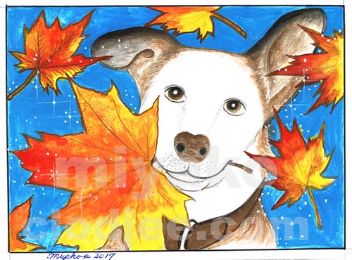Dog with Maple Leaves (02)