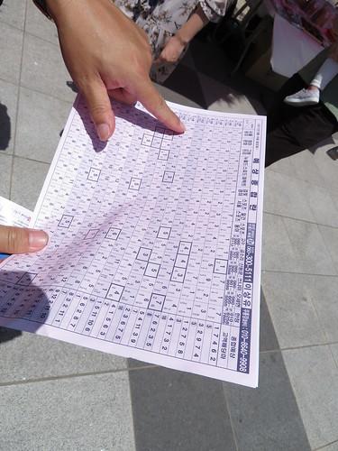 釜山慶南競馬場のおまけの紙