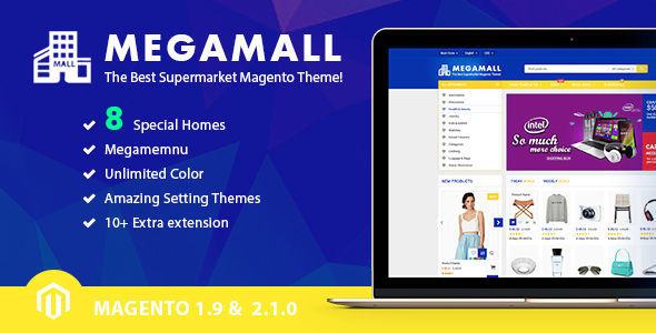 MegaMall v1.0.0 – Multi-purpose & Supermarket Magento 1.9 & Magento 2.1 Theme