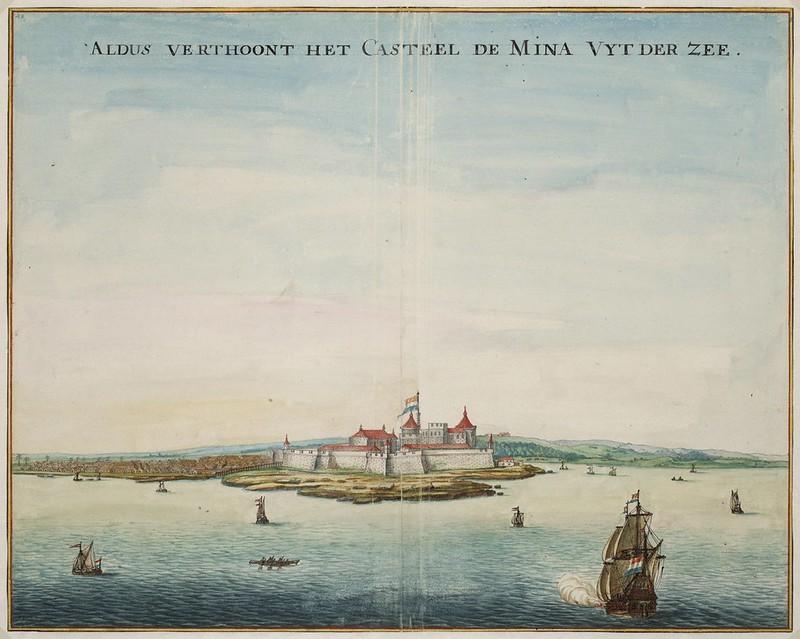 """Elmina Castle, by Johannes Vingboons - """"Aldus verthoont het casteel de Mina uyt der zee"""""""