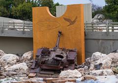 Israeli tank in the war museum operated by Hezbollah called the tourist landmark of the resistance or museum for resistance tourism, South Governorate, Mleeta, Lebanon