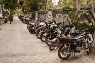Motorcycles on the sidewalk
