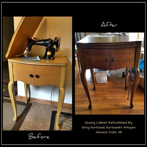 I bought this #vintagesewingmachine and cabinet at a what-not-shop in Eagle River, WI last year. The #sewingcabinet was in rough shape, especially the top, so I took it to #kurtzweilantiques to have him do something great with it for me, and that he did!