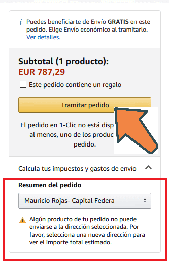 tramitar pedido en amazon