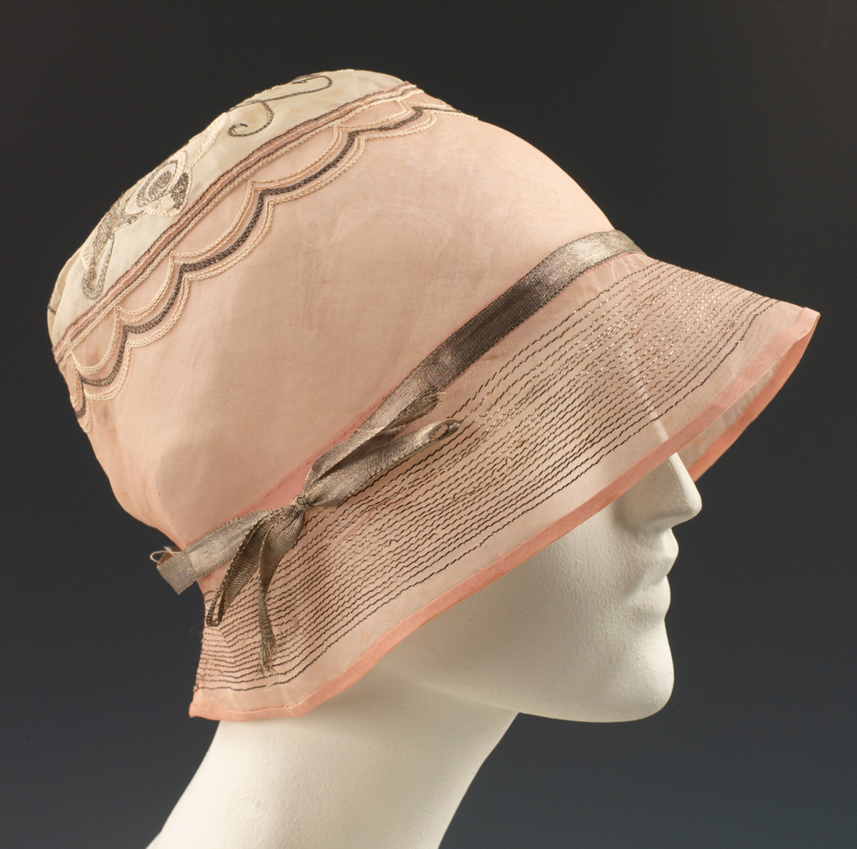 1925 Evening cloche. House of Lanvin. French. Cotton, metal