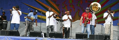 New Birth Brass Band on the Gentilly Stage - April 29 2017 Jazz Fest Day 2. Photo by Black Mold.