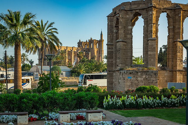 The garden of Desdemona and St. George of the Latins Church and Lala Mustafa Pasha Mosque (St. Nicholas Cathedral), Famagusta (Gazimağusa), North Cyprus