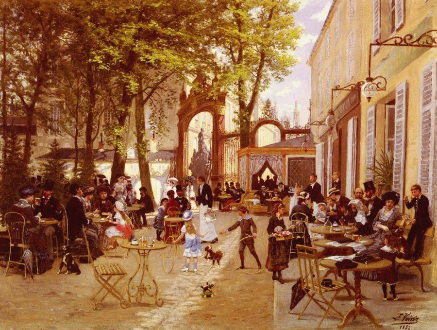 The terrace of the café of the glacier, place Stanislas in Nancy by Léon Joseph Voirin (1833-1887)