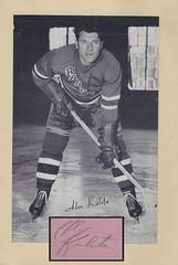 "1944-63 NHL Beehive Hockey Photo / Group II - Alex ""Killer"" Kaleta (Left Wing) (b. 29 Nov 1919 - d. 9 Jul 1987 at age 67) - Autographed Hockey Card / Cut (New York Rangers) (#330)"