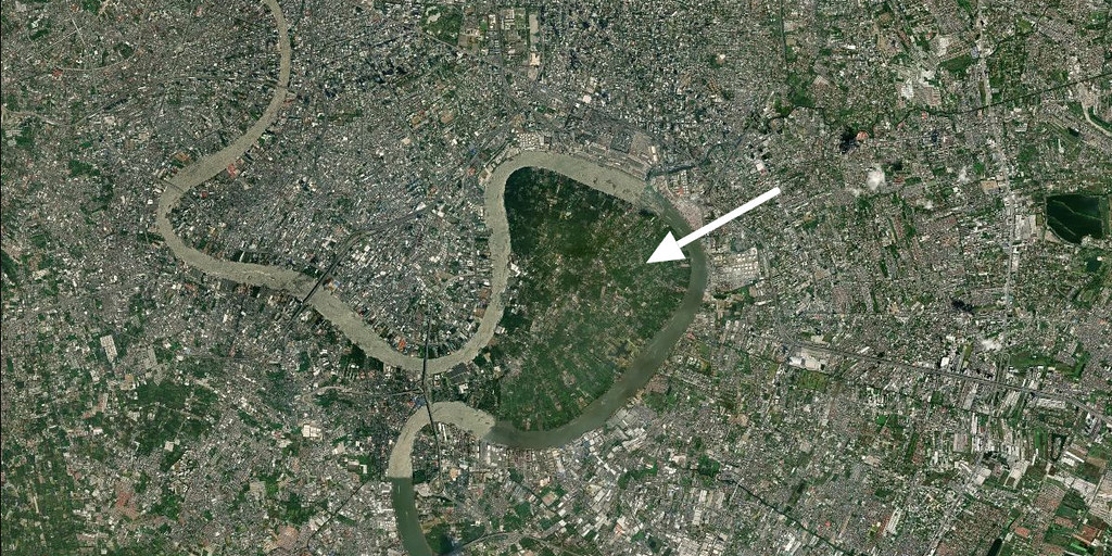 Satellite image of a river through a city
