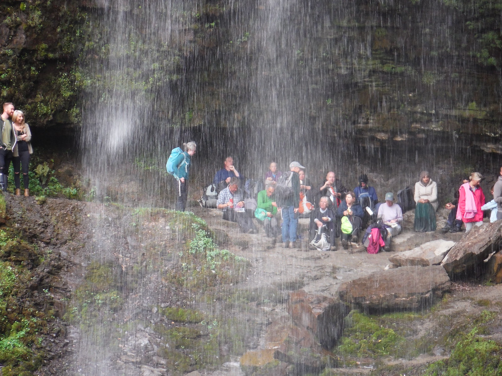 SWC Advance Group behind Sgwd Henrhyd's Curtain of Water SWC Walk 280 Henrhyd Falls - Sgwd Henrhyd (Craig y Nos Circular)