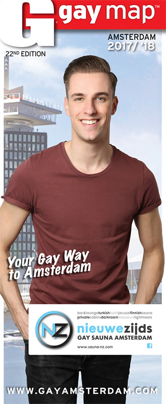 Cover Amsterdam Gay Map 2017, in opdracht van Gay International Press