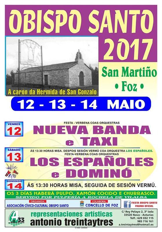 Foz 2017 - Festas do Bispo Santo en San Martiño - cartel
