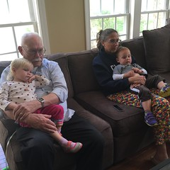 The twins with Grandpa Jim and Aunt Amber today