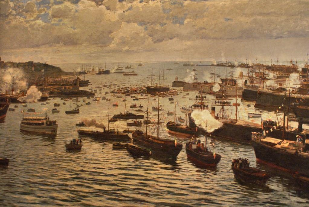 Emigration : Départ de bateaux pour le nouveau monde depuis le port de Gênes.