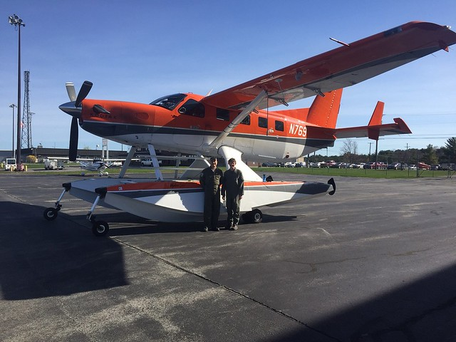 Maine and Atlantic Canada survey crew for 2017, Biologist/Pilot, Mark Koneff, and Biologist/Observer, Heidi Hanlon, in front of Quest Kodiak Amphibian N769  Photo Credit: USFWS