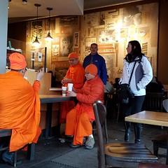 #buddhist monks at #Starbucks. Everyone needs #coffee!