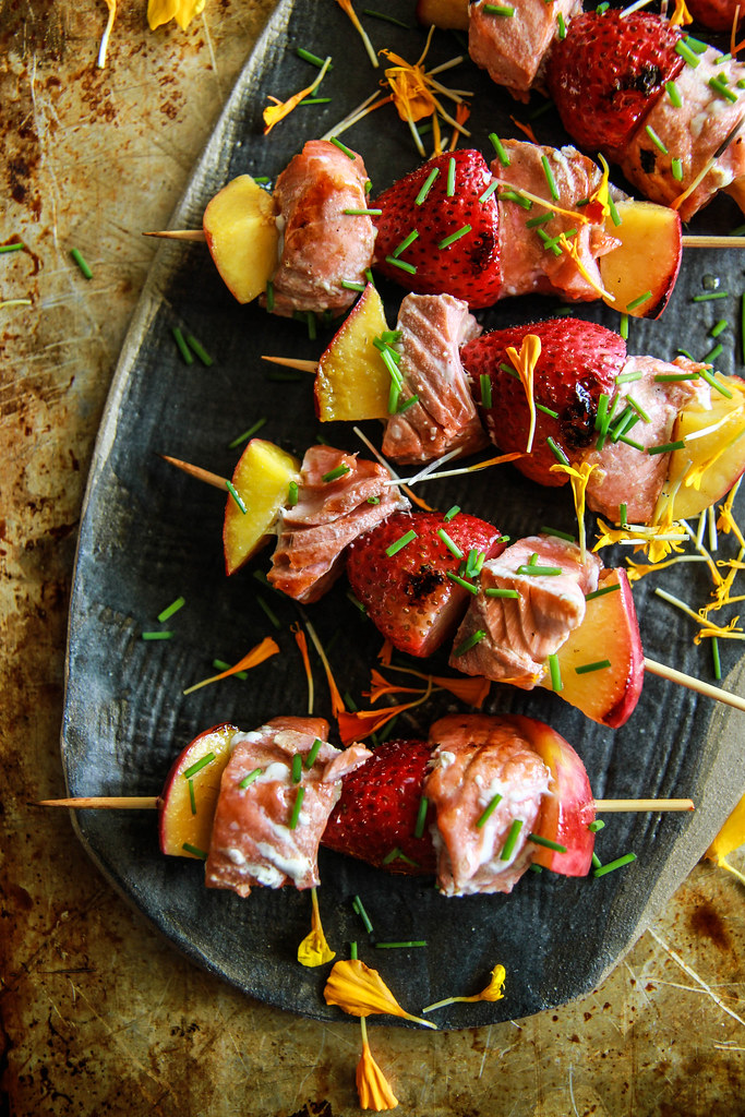 Grilled Salmon, Strawberry and Nectarine Kebabs from HeatherChristo.com