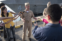 Chief of Naval Operations Adm. John Richardson holds a media availability after meeting with the crew of the littoral combat ship USS Coronado (LCS 4), May 16. (U.S. Navy/MC1 Nathan Laird)