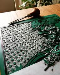 Crossbill Skeleton Linocut