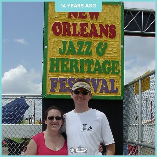 Throwback, thanks to timehop. Once upon a time, before kids, we went to Jazz Fest. I still have that hat. . . . #throwbackthursday #tbt #timehop #neworleans #jazzfest #beforekids