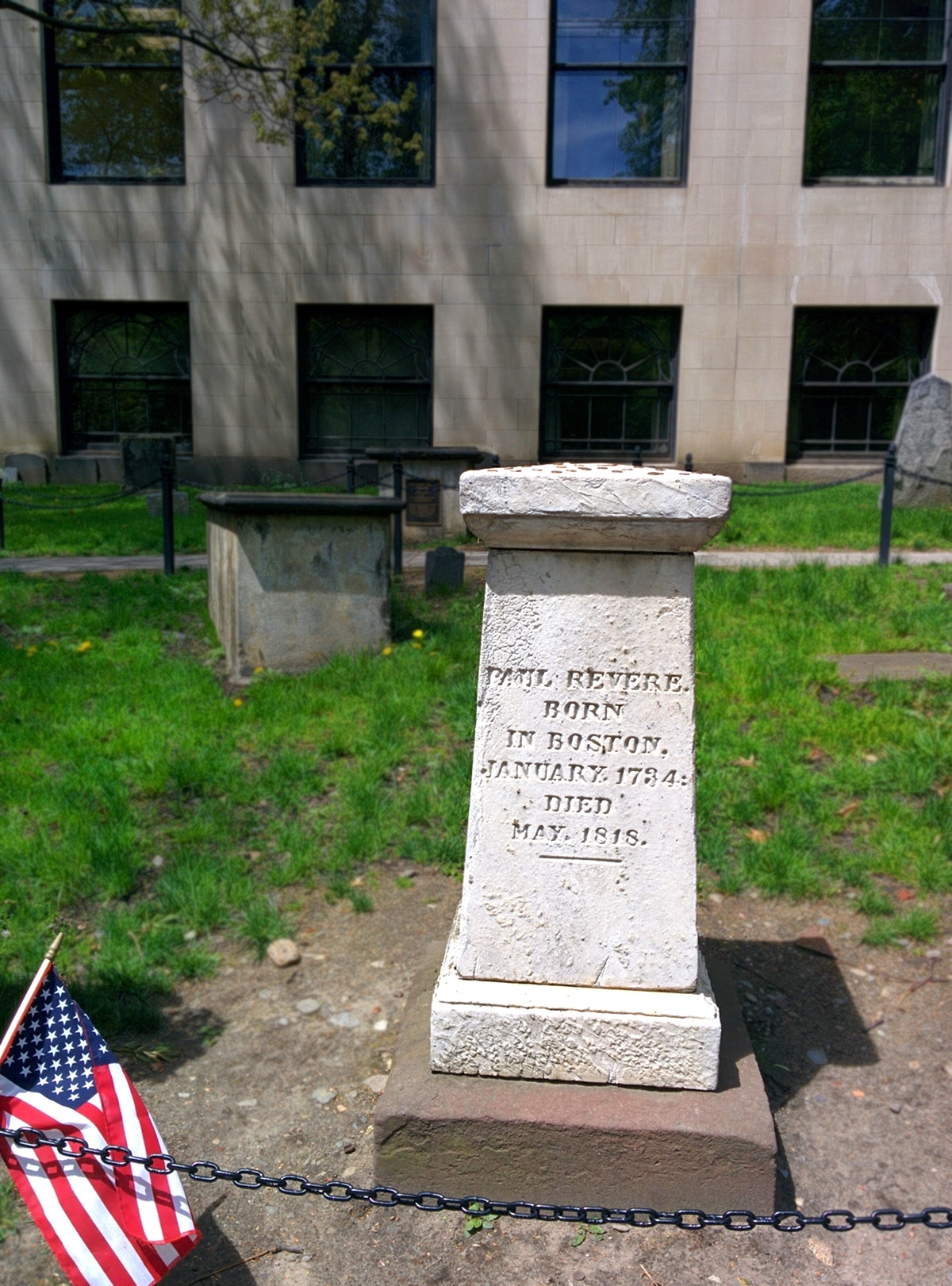Paul Revere's memorial at the Granary Burying Ground