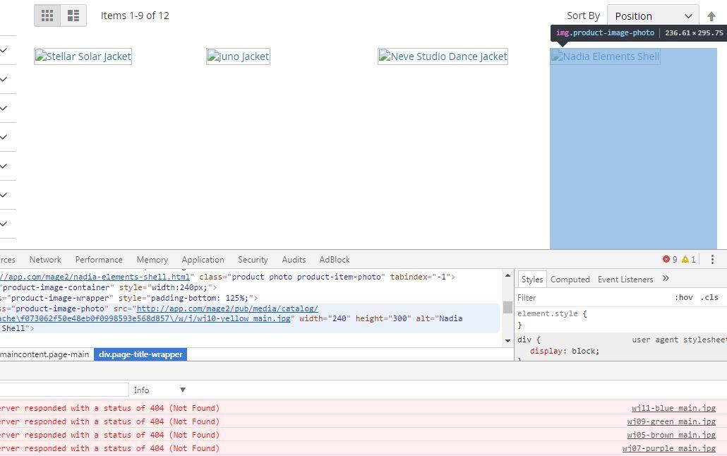 ảnh sản phẩm không hiển thị trong Magento v2.1.6