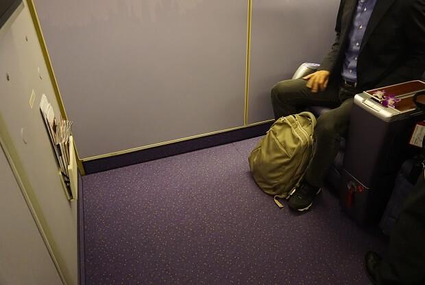170505 タイ航空ボーイング747ビジネスクラスシートピッチバルクヘッド席