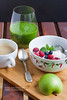 Breakfast with green smoothie
