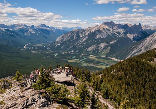 alberta banff banffgondola banffnationalpark bluesky bowriver bowvalley canada canadianrockies clouds d700 mountains nikon sulphurmountain walkway
