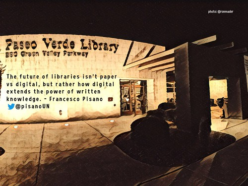 The future of libraries isn't paper vs digital, but rather how digital extends the power of written knowledge. @pisanoUN