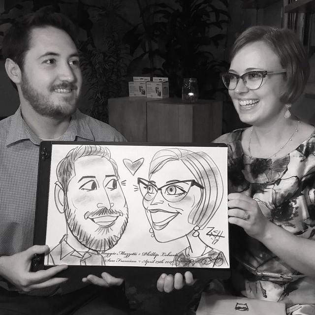 Saturday's #SanFrancisco #Wedding... #caricature #caricatures #caricaturist #3min #sfbayarea #mementos #weddingkeepsakes #partyentertainment #giveaways @thestablesf