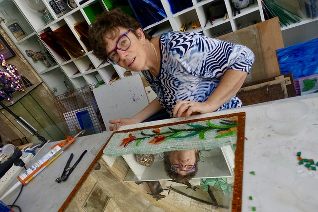 Artist working with glass, Jerusalem, Israel