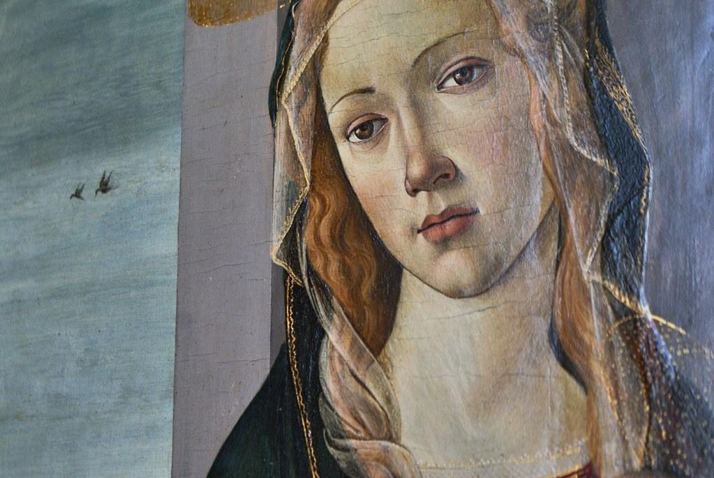 """Détails """"Vierge à l'Enfant"""" de Sandro Botticelli (vers 1487) dans la Galerie Saubada à Turin."""